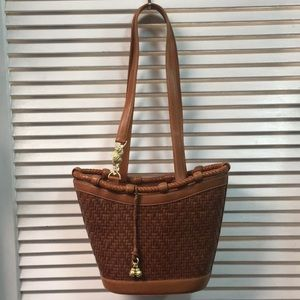 Caramel Leather Basket Weave w/ Gold Plated Charms